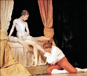 Alina Cojocaru & Christopher Saunders (as Monsieur GM) in Manon. Photo by Johan Persson. Source via PlaybillArts