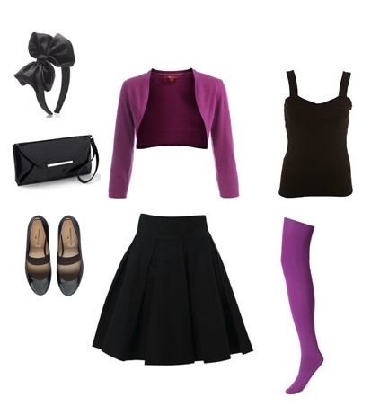 Bolero from Monsoon, Top and skirt from FCUK, Alice band, tights and bag from Accessorize and shoes from Marais USA