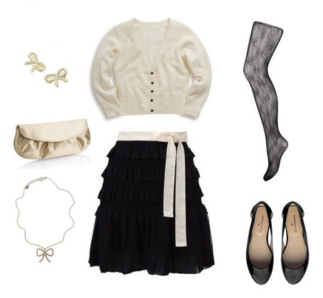 Cardigan from Boden, Skirt from FCUK, Clutch, Earrings, Necklace and Tights from Accessorize and shoes from Marais USA